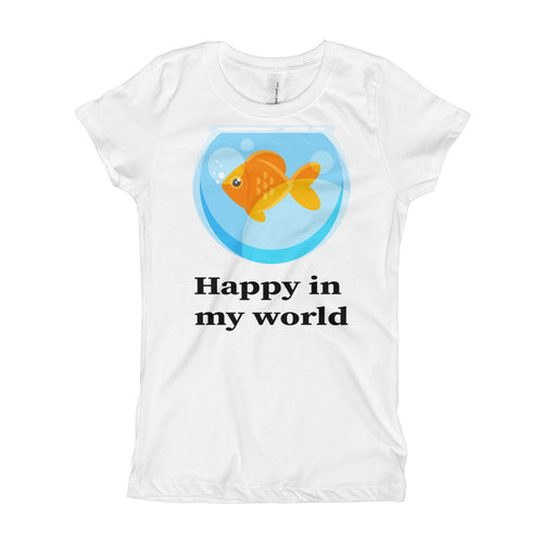 Happy in my World with Goldfish cute Girl's T-Shirt