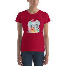 Baby Elephant and Pastel Flowers Women's short sleeve t-shirt