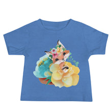 Pastel Flowers and Baby Fox Baby Jersey Short Sleeve Tee
