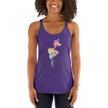 Pink Peacock and Pastel Flowers Women's Racerback Tank Top