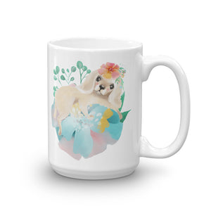 Puppy Dog with Long Ears and Pastel Flowers Mug