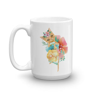 Kitty Cat and Pastel Flowers Mug
