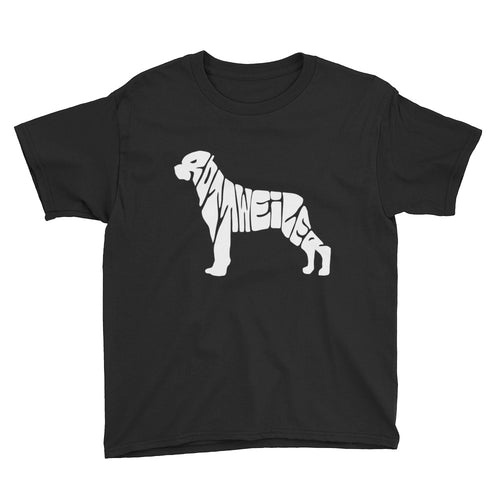 Rottweiler Dog Youth Short Sleeve T-Shirt Rottweiler is spelled out in the image.  Look close.