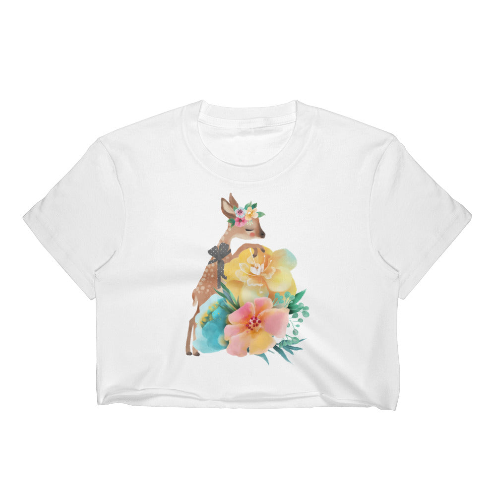 Baby Deer Fawn and Pastel Flowers Women's Crop Top