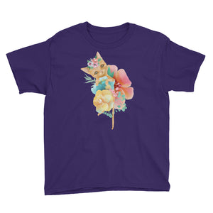 Kitty Cat and Pastel Flowers Youth Short Sleeve T-Shirt