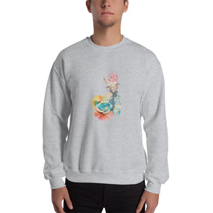 Pastel Flowers and Kitty Cat Men's shirt Kitten Guy's Sweats Man's Hooded Sweatshirt