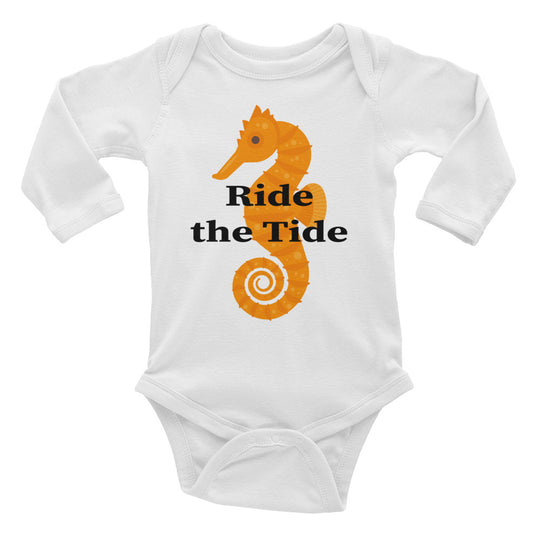 Seahorse with Ride the Tide Infant Long Sleeve Bodysuit.  Exclusively at MrShazz.com