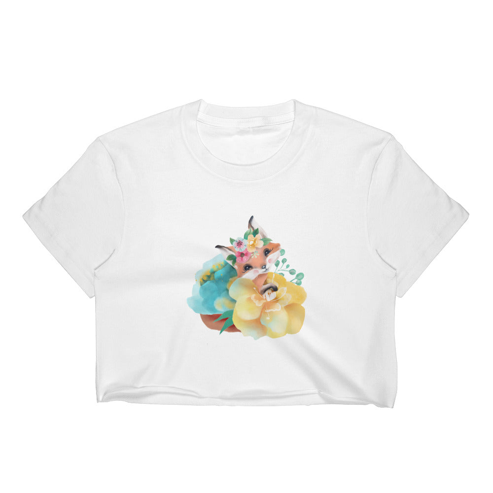 Pastel Flowers and Baby Fox Women's Crop Top