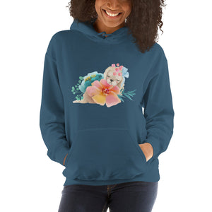 Pastel Flowers and Cute Puppy Dog Unisex Hooded Sweatshirt