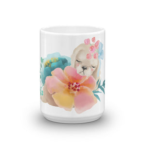 Pastel Flowers and Cute Puppy Dog Mug