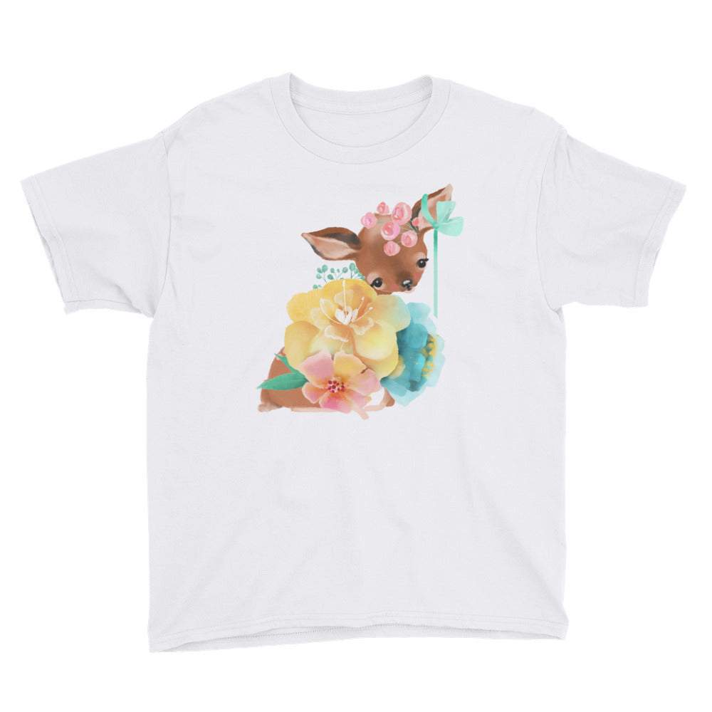Baby Deer Fawn resting in Pastel Flowers Youth Short Sleeve T-Shirt