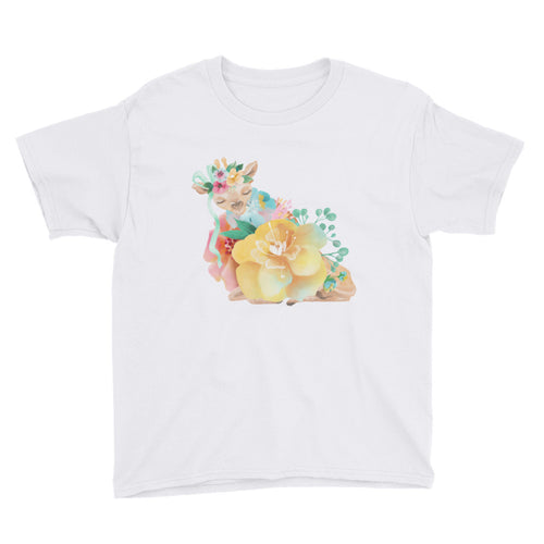 Pastel Flowers and Deer Fawn Child's shirt Baby Deer Youth Short Sleeve T-Shirt