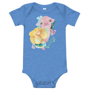 Pastel Flowers and Silly Pig with Hair Bow Infant One Piece Cute Flowers Infant Bodysuit