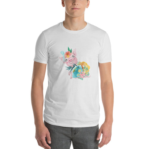 Soft Pastel Flowers and Cute Pig tee Piglet Flower Short-Sleeve T-Shirt