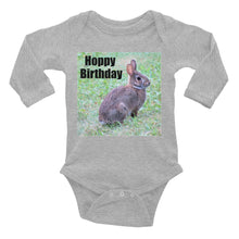 Hoppy Birthday Bunny Infant Long Sleeve Bodysuit Happy Birthday Rabbit