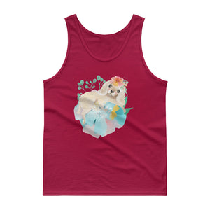 Puppy Dog with Long Ears and Pastel Flowers Men's Tank top