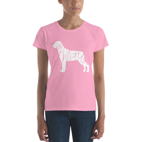 Rottweiler Dog Women's short sleeve t-shirt Rottweiler is spelled out in the image.  Look close.