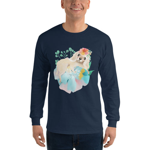 Puppy Dog with Long Ears and Pastel Flowers Men's Long Sleeve T-Shirt