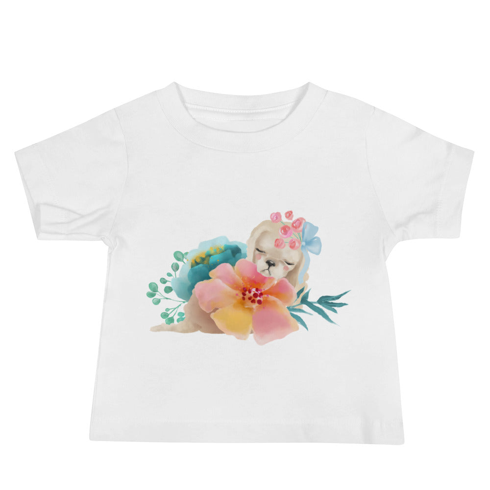 Pastel Flowers and Cute Puppy Dog Baby Jersey Short Sleeve Tee