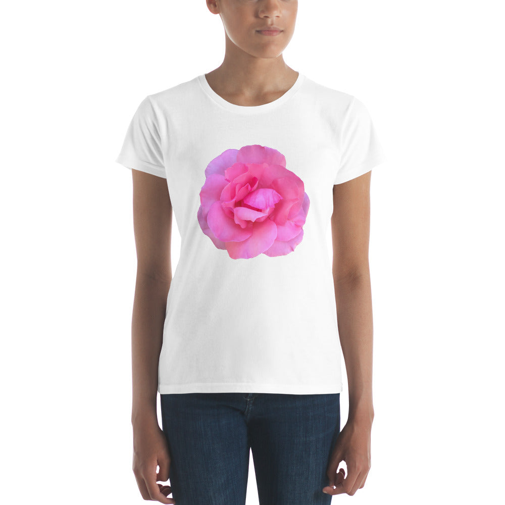 Pink Rose T-shirt for ladies.  This is the famous Emma Rose.  Also available on our clothing and mugs for men, women, and children.