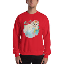 Puppy Dog with Long Ears and Pastel Flowers Men's Unisex Sweatshirt