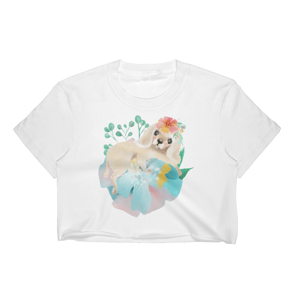 Puppy Dog with Long Ears and Pastel Flowers Women's Crop Top