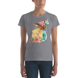 Baby Deer Fawn resting in Pastel Flowers Women's short sleeve t-shirt