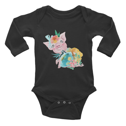 Soft Pastel Flowers and Cute Pig One Piece Piglet Flower Infant Long Sleeve Bodysuit