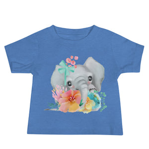Baby Elephant and Pastel Flowers Baby Jersey Short Sleeve Tee