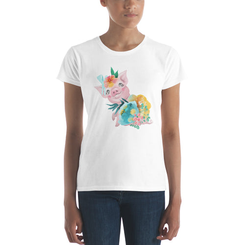 Soft Pastel Flowers and Cute Pig Ladies' T-shirt Piggy Young Woman's t-shirt