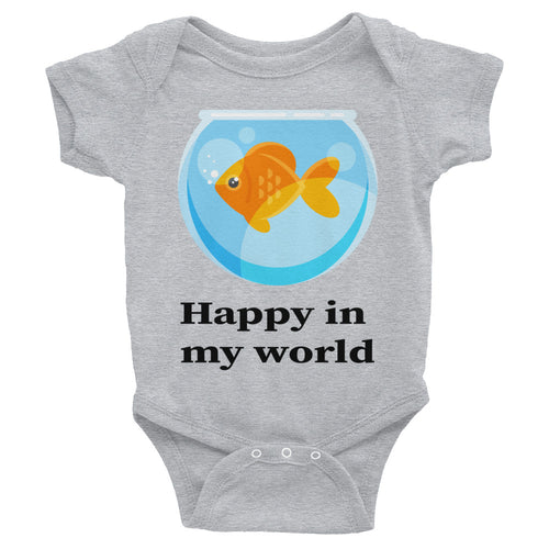 Happy in my World with Goldfish cute Infant Bodysuit