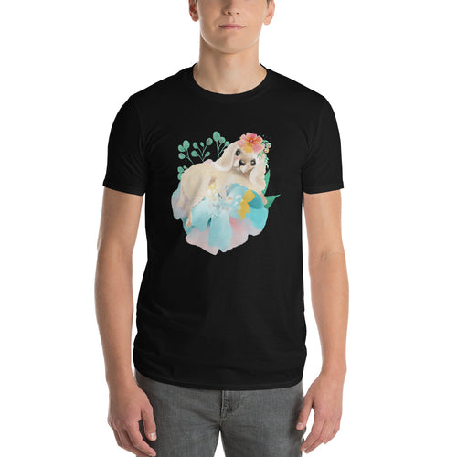 Puppy Dog with Long Ears and Pastel Flowers Men's Short-Sleeve T-Shirt