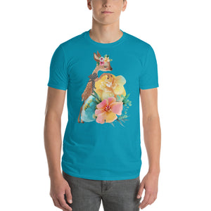 Baby Deer Fawn and Pastel Flowers Men's Short-Sleeve T-Shirt