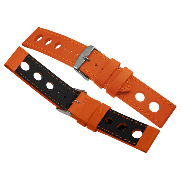 24mm Bracelet Montre Cuir Racing Orange B0323