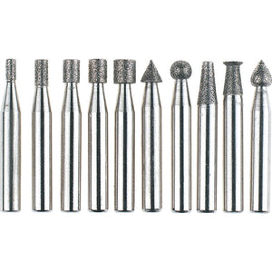 "Diamond Burr, 10 pc. Set 1/4"" Shank"