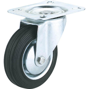 "4"" Black Rubber Swivel Caster, Plate Mount"