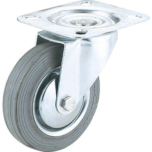 "5"" Gray Rubber Swivel Caster, Plate Mount"