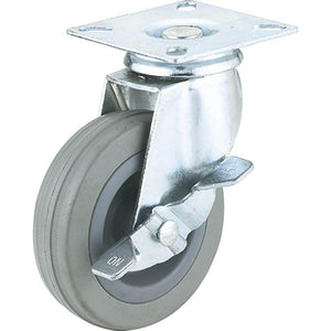"3"" Gray Rubber Swivel Caster, Plate Mount with Brake"