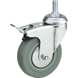 "4"" Gray Rubber Swivel Caster, Threaded Mount with Double Lock"
