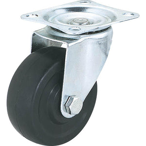 "3"" Black Rubber Swivel Caster, Plate Mount"