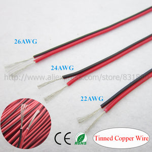 20m 2 Pin Tinned led wire IEC RVB 22AWG 24AWG 26AWG cable