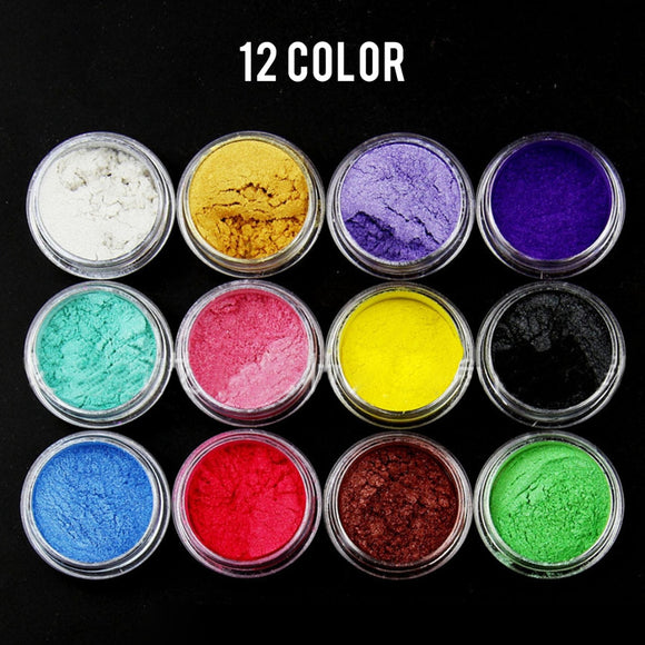 12pcs Colors Resin Dye Shimmer Natural Mineral Mica Powder Pigments for Jewelry Making Cutting Dies Paper Decor DIY Crafts