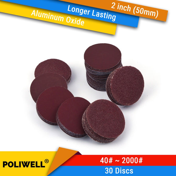 30PCS 2 Inch(50mm) Aluminum Oxide Hook&Loop Red Grain Dry Sanding Discs for Woodworking Dremel Power Tools Polishing Accessories