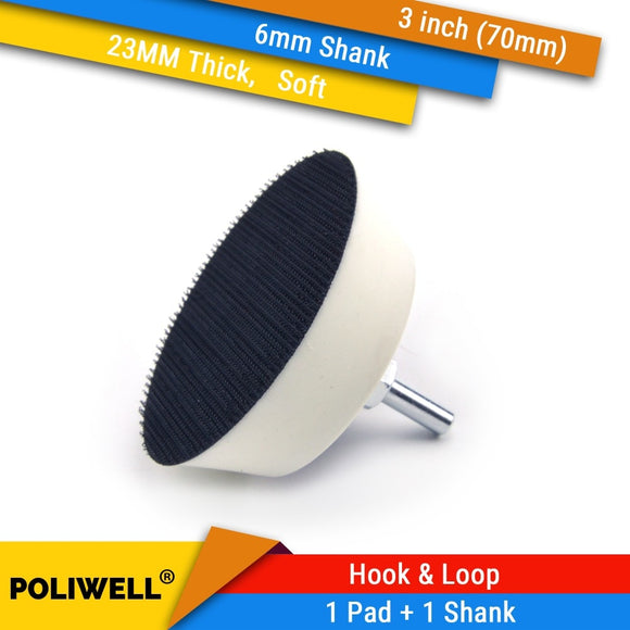 3 Inch(70mm) 23MM Soft Foam Back-up Sanding Pad + 6mm Shank for 3