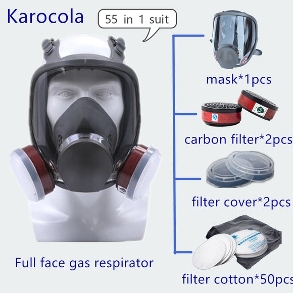 55in1 Chemical Gas Mask 6800 Full Facepiece Respirator Painting Spraying Welding Mask Anti-dust Woodworking Protective Equipment