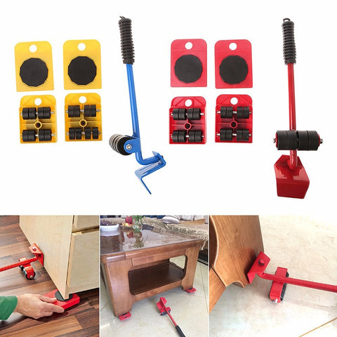 Furniture Lifter Slider Kit - Heavy Furniture Mover Tool With 4 Pad Mover Slider
