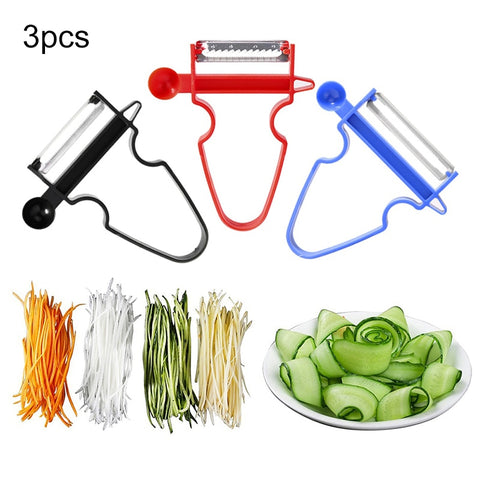 3 PCS Magic Peeler Set  - Grater Kitchen Tools - Multi Peel Stainless Steel Blade Cutter