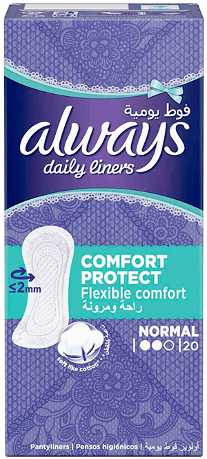 Always Daily Panty Liners Box Comfort Protect Normal 20 pcs
