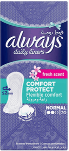 Always Daily Liners Comfort Protect Normal Fresh Scent 20 pcs panty liners box