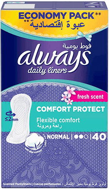 Always Daily Liners Comfort Protect Normal Fresh Scent 40 pcs panty liners box